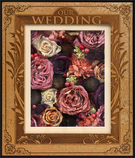 Engraved shadow boxes for your preserved wedding or memorial flowers.