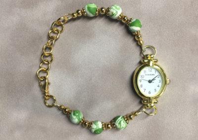 Green & White Flower Petal Bracelet Watch