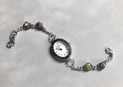 Purple & Green Flower Petal Bracelet Watch