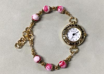 Pink Rose Flower Petal Bracelet Watch
