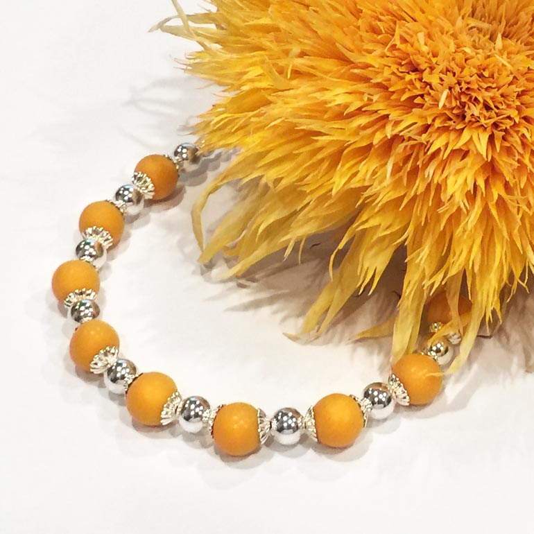 Preserved Flower Jewelry - Yellow Silver Bracelet
