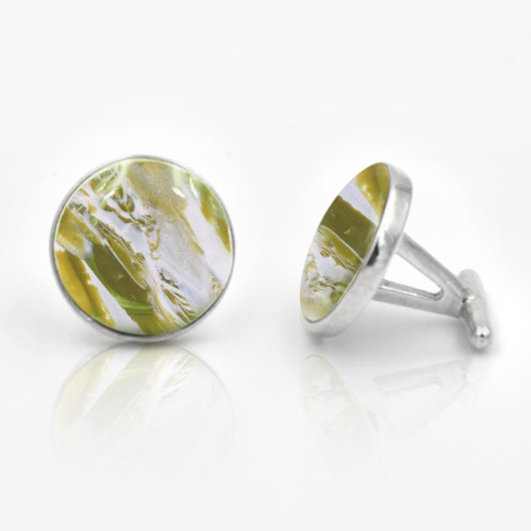 Preserved Flower Jewelry - Green Cufflinks