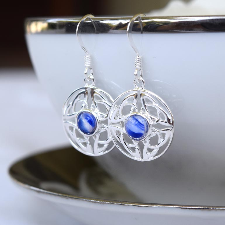 Preserved Flower Jewelry - Blu, White & Silver Earrings