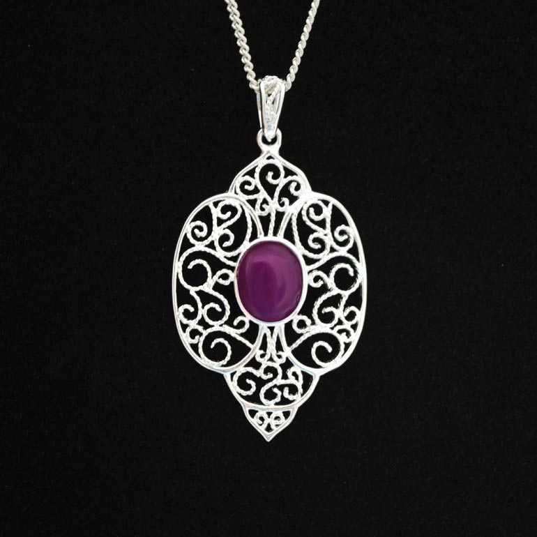 Preserved Flower Jewelry - Silver Purple Necklace