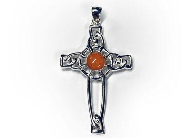 Orange Preserved Flower Necklace Pendant
