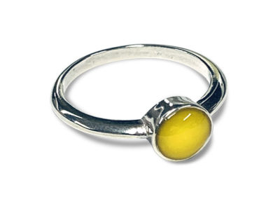 Yellow Preserved Flower Petal Ring