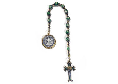 Preserved Green White Flower Single Decade Rosary