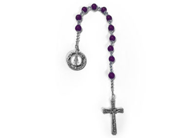 Deep Purple Preserved Flower Single Decade Rosary