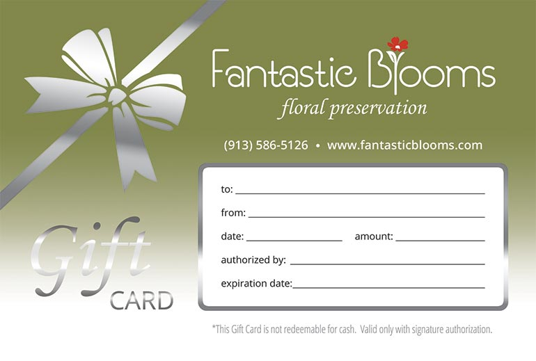 Wedding flower preservation gift cards by Fantastic Blooms.