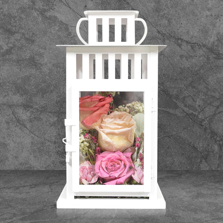 Preserved flower petal lanterns created from your wedding bouquet, memorial flowers, or other special blooms!