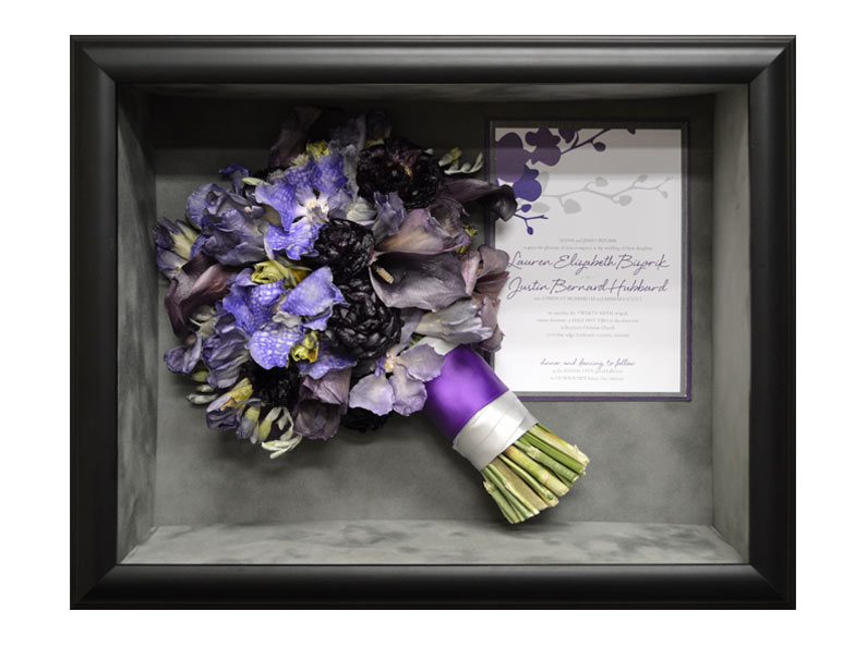 Fantastic Blooms can preserve your entire wedding bouquet and encase it in an affordable shadow box display.