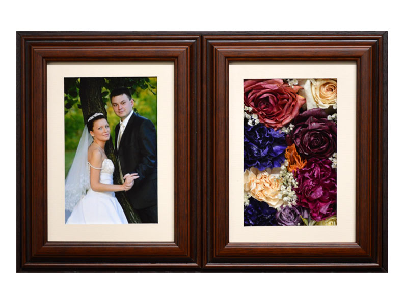 Another beautiful preserved wedding bouquet encased in a double framed shadow box.