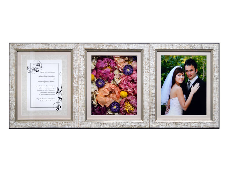Affordable wedding flower preservation comes in all shapes and sizes - including elegant triple frame pavé shadow boxes.