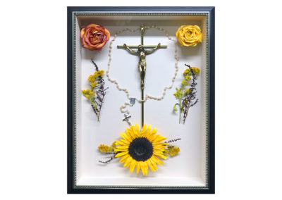 Shadow Box w/ Preserved Memorial Sunflower Roses and Rosary