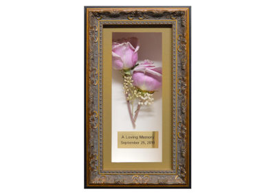 Memorial Shadow Box w/ 2 Preserved  Lavendar Roses