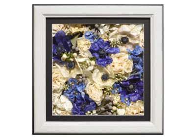 Pavé Shadow Box w/ Preserved Blue and White Flowers