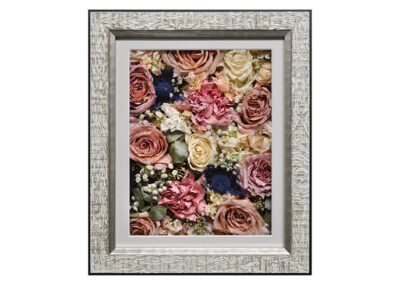 Wedding Flowers Preserved in a Rustic Wood Pavé Shadow Box