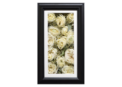 Pavé Shadow Box w/Preserved White Rose Wedding Bouquet Flowers