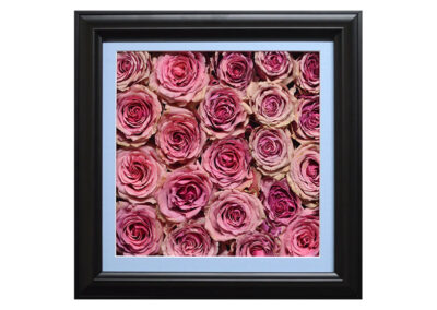 Pavé Shadow Box w/ Preserved Pink Rose Wedding Bouquet Flowers