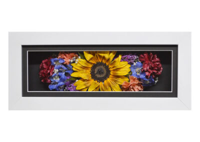 Pavé Shadow Box w/ a Preserved Sunflower and Carnations
