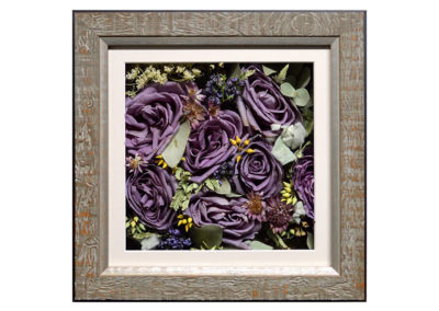 Pavé Shadow Box  w/ Preserved Purple Roses