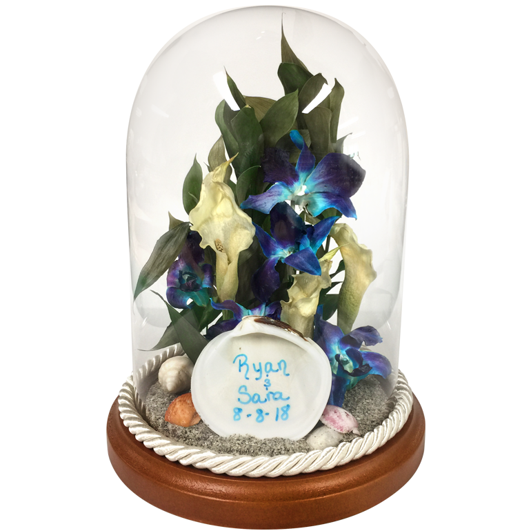 Glass dome trim colors for your preserved flowers from Fantastic Blooms Floral Preservation.