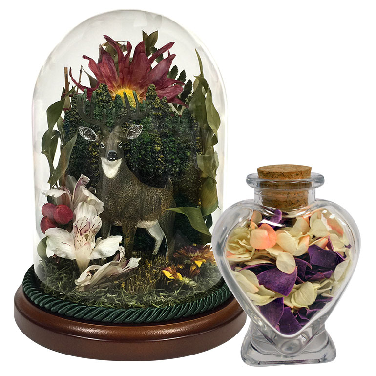 Flower preservation keepsakes in glass domes and other encasements.
