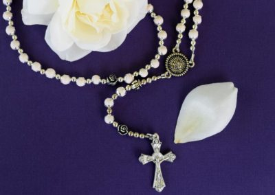 White Flower Petal Rosary