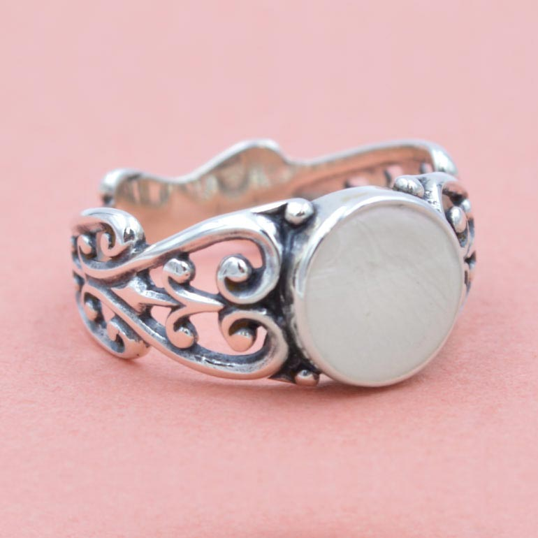 Preserved Flower Jewelry - Silver White Ring