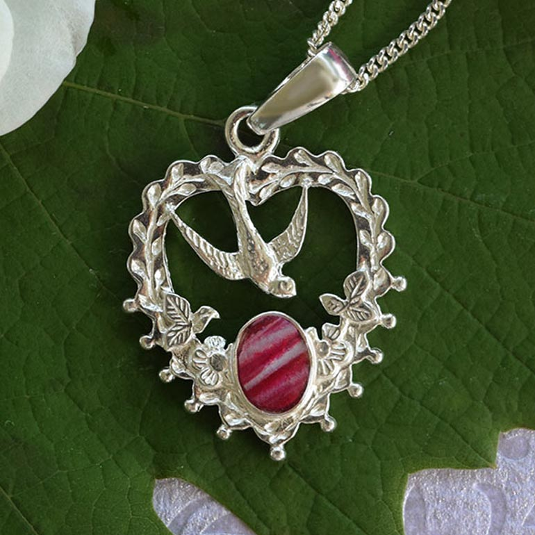 Preserved Flower Petal Jewelry - Red White Silver Pendant