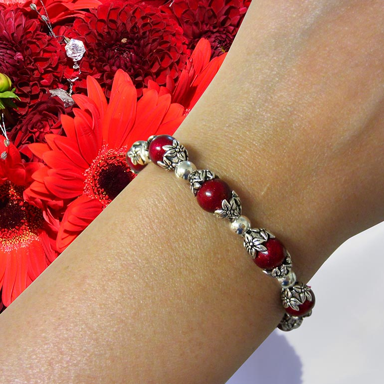 Preserved Wedding Bouquet Flower Petal Bracelet - Red