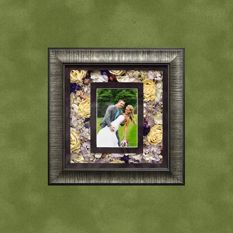 Preserve your wedding bouquet flowers into a beautiful framed shadow box.