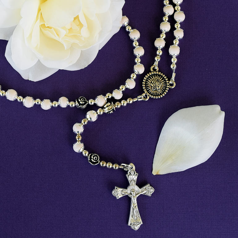 Preserved flower petal rosaries.